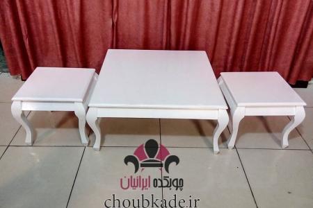 میز جلو مبلی و عسلی صفحه چوب مربع