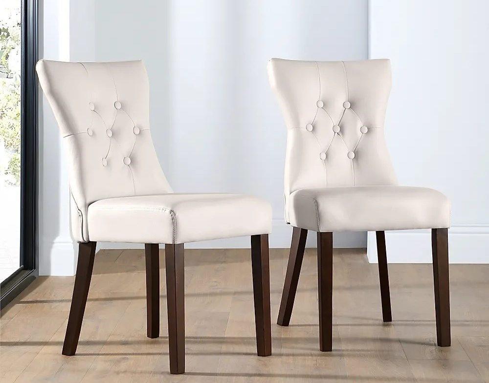 صندلی ناهارخوری چرمی سفید